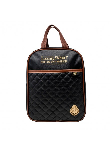 Harry Potter Quilted Backpack Black & Tan (SLHP366)